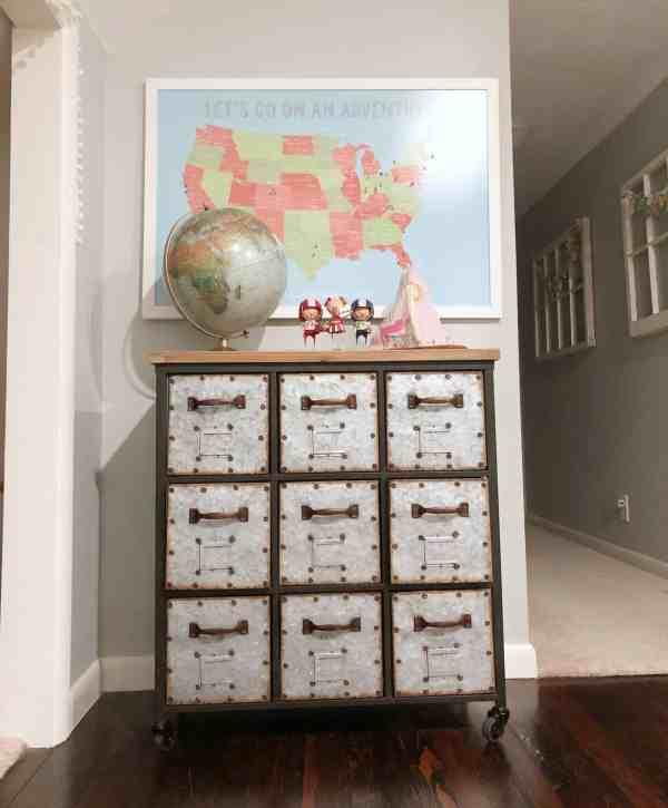 Metal drawer storage for kids room