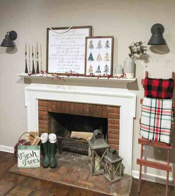Use Inexpensive scarves for a blanket ladder #christmasdecor #farmhouse #mantel