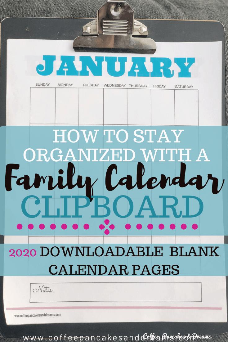 Family Calendar Clipboard and Free Calendar Pages Template #organization #commandcenter #calendar2020