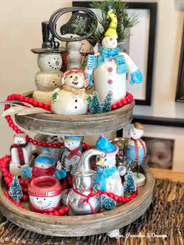 Christmas Tiered Tray Style #snowmen #collections #vintage