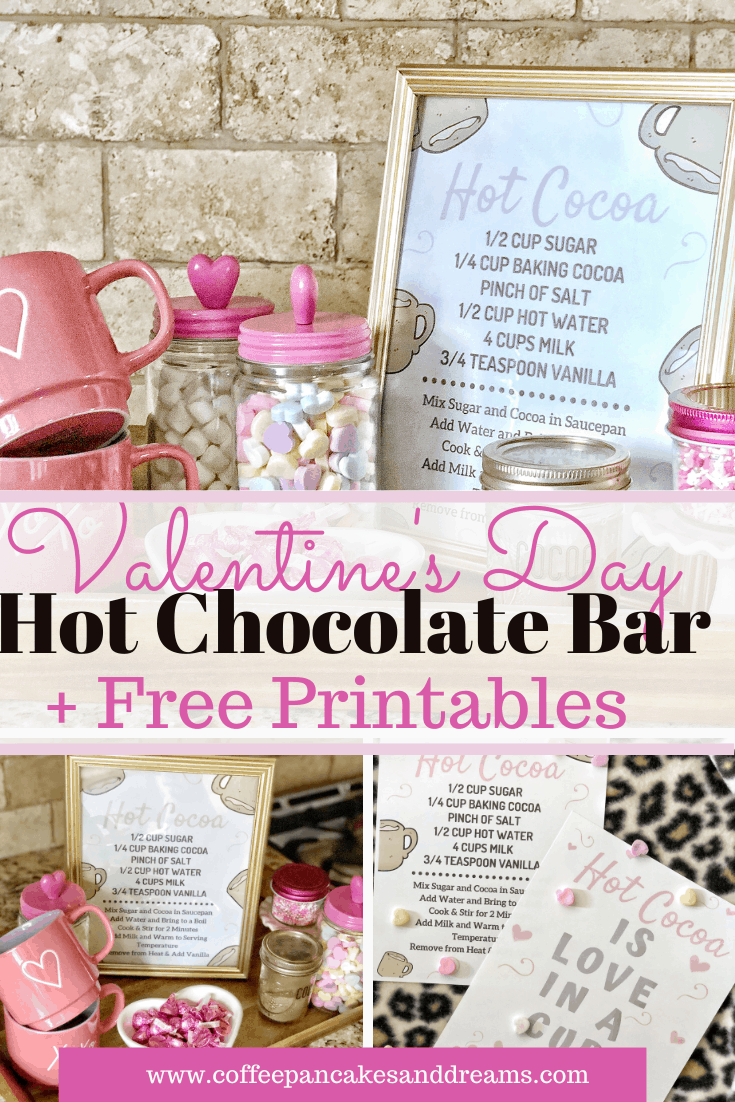 Valentine's Day themed Hot Chocolate Bar #hotcocoa #kids #desserts #cute