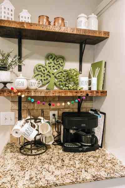 St. Patrick's Day Decor #coffeebar #coffeestation #openshelves
