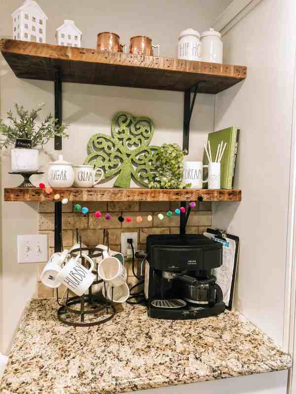 St. Patrick's Day Decor #coffeebar #coffeestation #openshelves