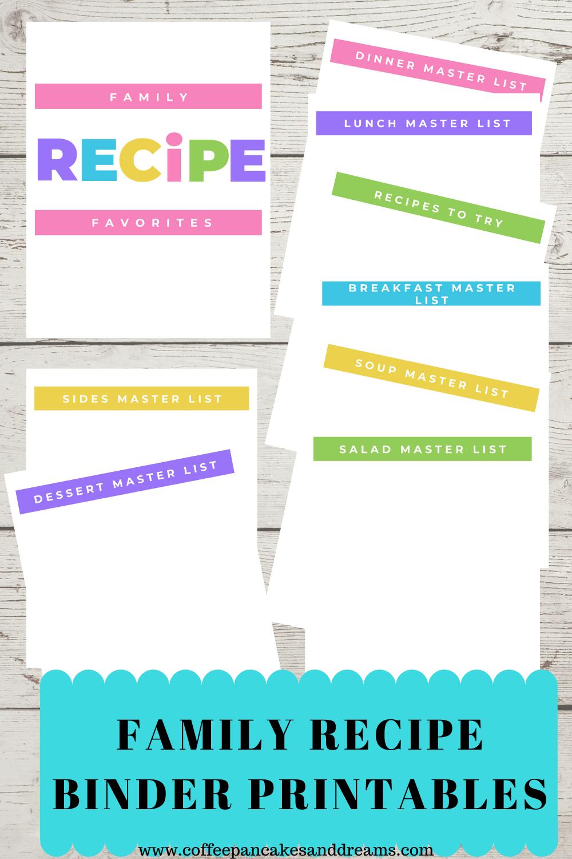 DIY Recipe Binder Printables #kitchenorganization #familymealplanning #mealplanning #mealprep #dinnerideas