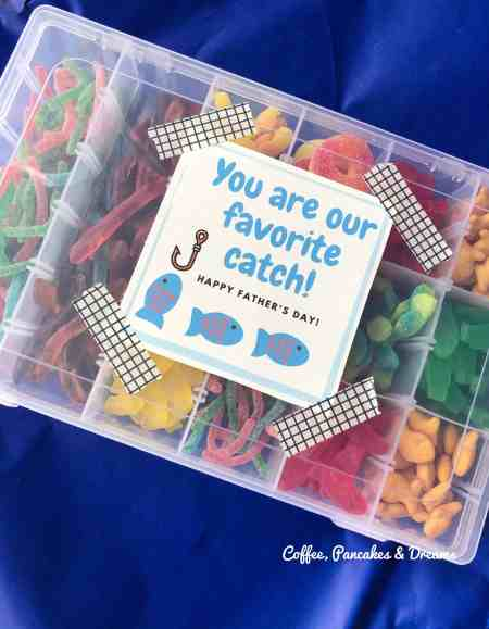 Father's Day Candy Tackle Box Gift #homemade #diy #fromkids