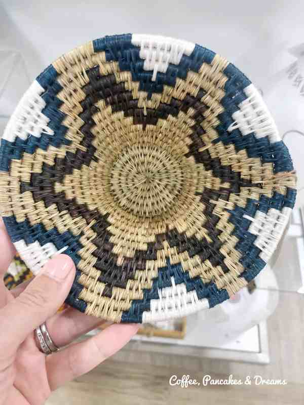 Small Blue and White Hand Woven Basket at Homegoods