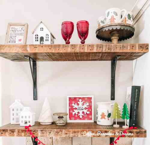 Cozy Christmas Shelf Styling #mugs #gingerbread #farmhouse