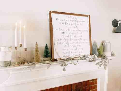 Neutral Christmas Mantle Decor #farmhouse #candles #bottlebrushtrees