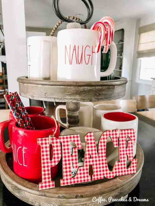 Christmas Tiered Tray with Rae Dunn #farmhouse #gingham #olddecor