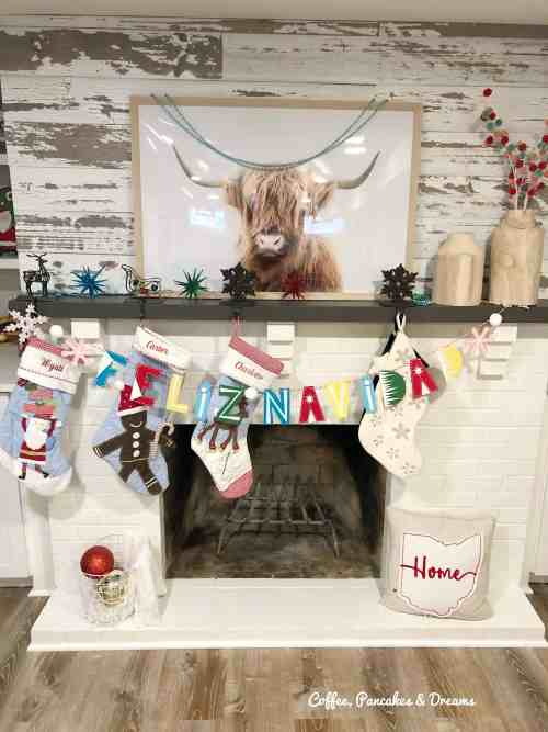 Colorful Christmas Mantle #garland #pbstocking #merryandbright #diy