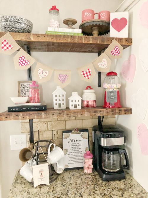Valentine's Day Coffee Station #coffeebar #cute #valentinesdecor #hotcocoabar