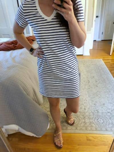 Navy V Neck Striped Dress for 4th of July