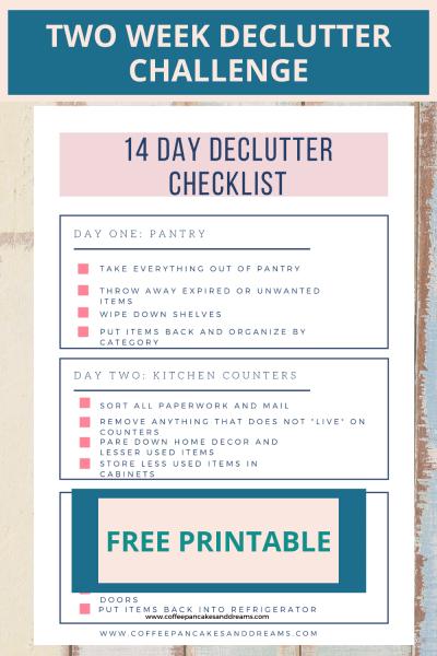 Quick Declutter Checklist Two Week Decluttering Challenge