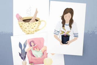 Selfcare Greeting Cards - Set of three - Featuring: Plant Lady Card, Girl in a Teacup Card and a Card showing a girl reading