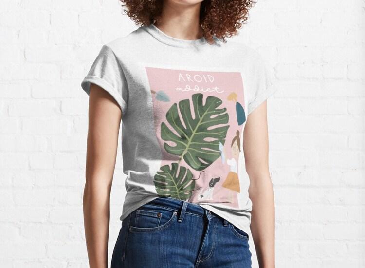 Girl wearing a aroid shirt