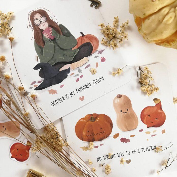 Herbstliche Grußkarten - Beide Karten zusammen in der Nahaufnahme