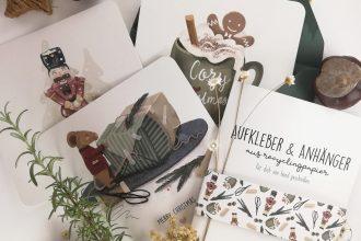 Illustrierte Weihnachtskarten mit Umschlag