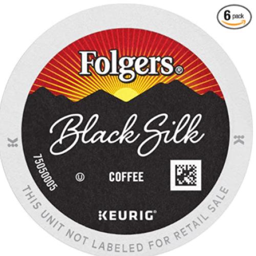 FOLGERS K CUPS Black Silk Dark Roast Coffee, 72 K Cups for Keurig Coffee Makers