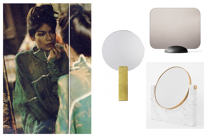 modern table mirrors brass marble wood hay mirror mirror menu pepe menu gridy me bianca jagger in the mirror modernit käsipeilit pöytäpeilit