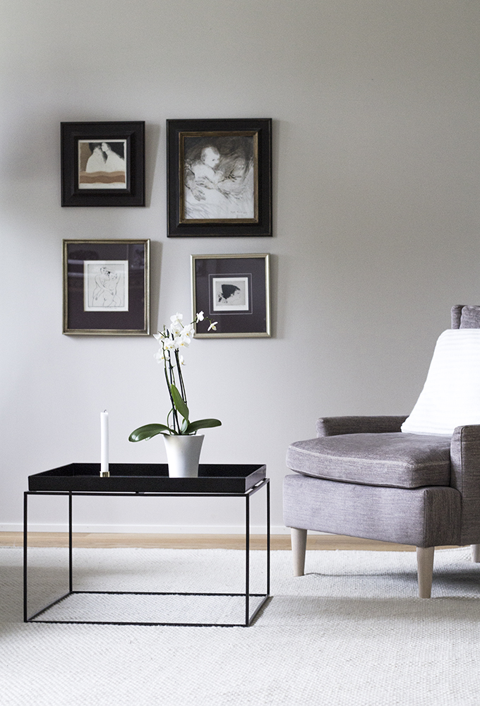 Living room Linie Design Asko offwhite carpet, Farrow & Ball Skimming Stone, Adea Hudson, Hay Tray table, Gallery Wall, Coffee Table Diary blog