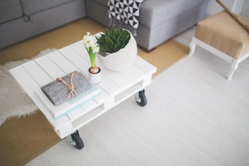 living room with white coffee table and succulents