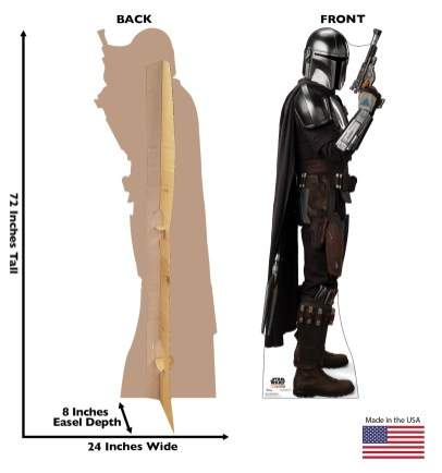 "The Mandalorian Standee From Advanced Graphics Standee of the Mandalorian with upgraded armor. 72"" by 24"". Available now at Amazon.com, Wayfair, Walmart.com and other online retailers."