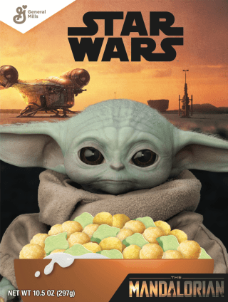 The Child Cereal The Child Cereal is Fruity Flavored Cereal with Yoda shaped Marshmallows! A perfect cereal for breakfast or as a quick snack on the go. Coming August 2020 - $2.50