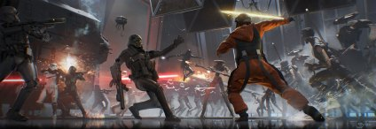 Vader Immortal Concept Art - Hangar Battle