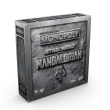 "Monopoly Star Wars: The Mandalorian Edition MSRP: $39.99 Available: Oct. 1 Retailer: Mass Description: Imagine traveling around a dangerous galaxy where Imperial enemies threaten the safety of The Child, the character fans call ""Baby Yoda"". In the MONOPOLY STAR WARS: THE MANDALORIAN Edition edition board game, players can play as The Mandalorian, Cara Dune, IG-11, or Kuiil. Getting The Child token lets players enhance their character's special ability and use The Child's unique ability. Buy hideouts, win battles, and earn Imperial credits. The player with the most Imperial credits wins, but be vigilant! If an Imperial enemy gets The Child, the game's over for everyone! Available at most major retailers beginning 10/1."