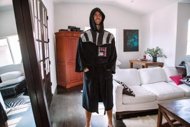 Star Wars Darth Vader Hooded Bathrobe for Men/Women | One Size Fits Most Adults