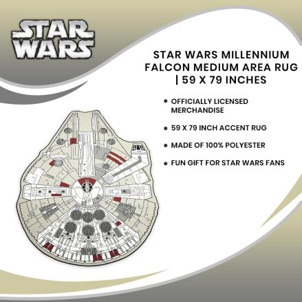 Star Wars Millennium Falcon Medium Area Rug | 59 x 79 Inches
