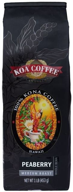 Peaberry Medium Roast Whole Bean 100% Kona Coffee