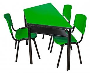 Mesa trapezoidal escolar plastica