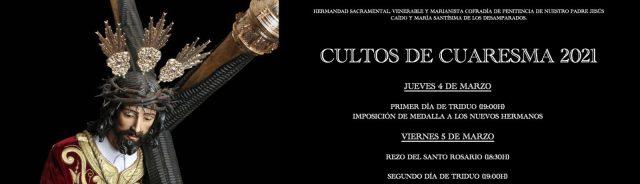 Anunciados los Cultos de Cuaresma de Jesús Caído de Cádiz