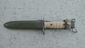 Tan retro m7 bayonet in M8a1 scabbard