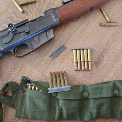Remington Model 81 stripper clips, bandolier, and .30 remington