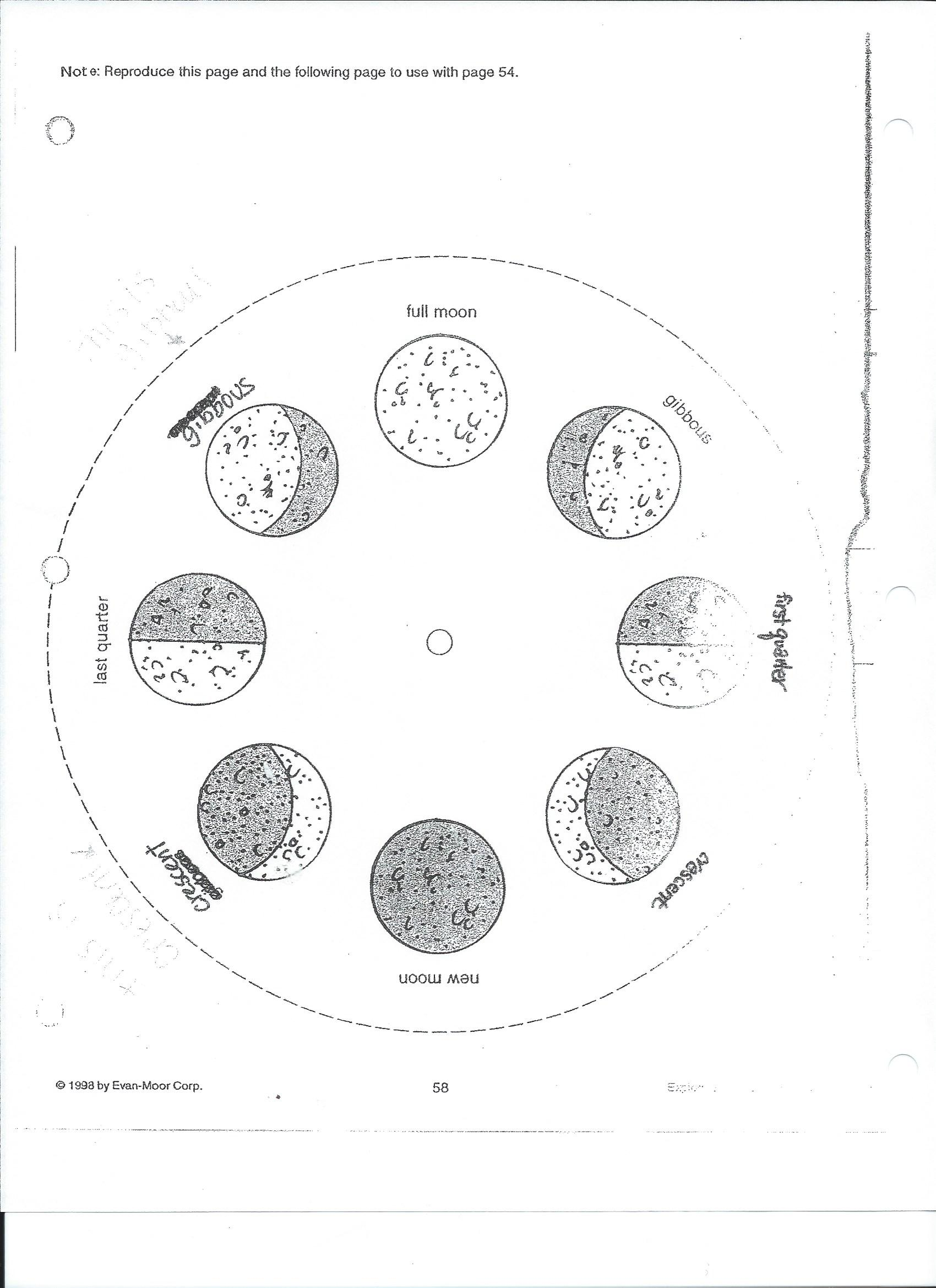 Lunar Moon Phases Worksheet
