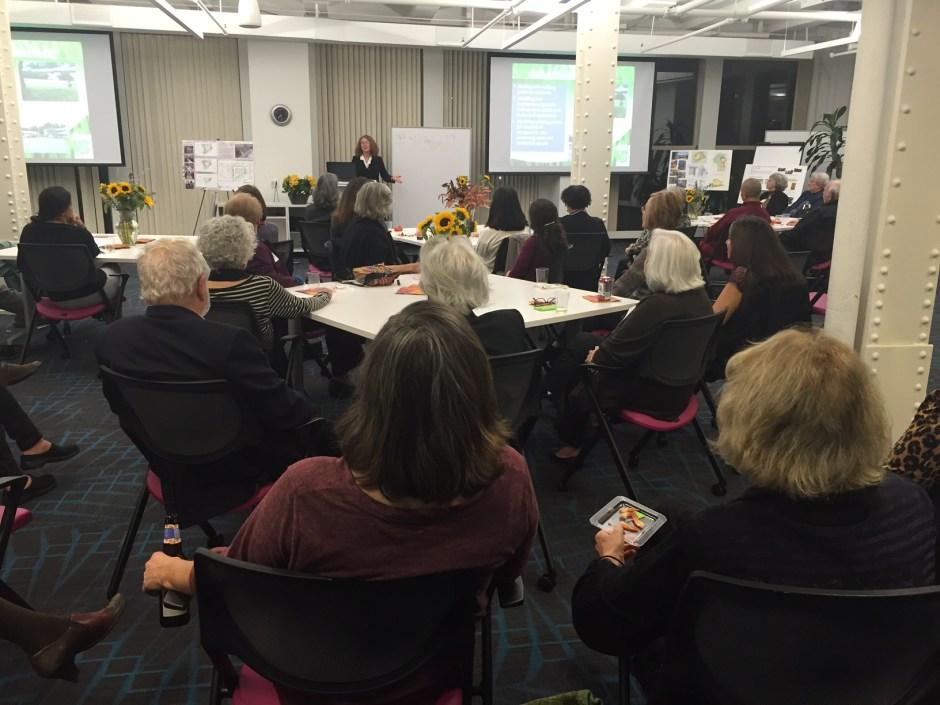 Watching Meg Muckenhoupt present Brenda Martinez's Powerpoint / Photo by Holly Owen
