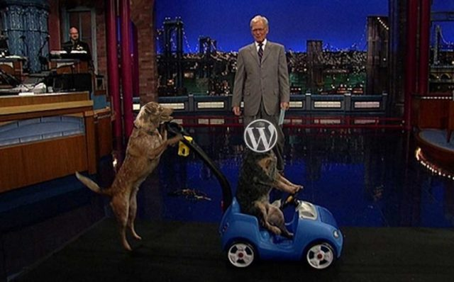 A TV show host stands middle of stage while a dog standing on hind legs (with the head of my own dog superimposed) pushed another dog in a toy car, that dog with the WordPress logo inserted on its head)