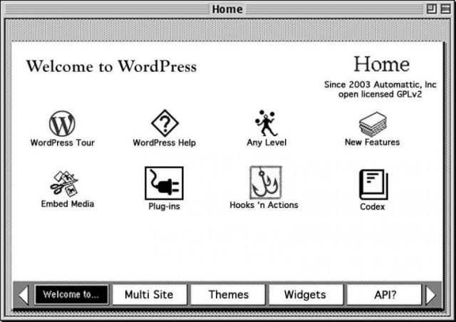 An old home screen for hypercard re-edited to have features related to WordPress