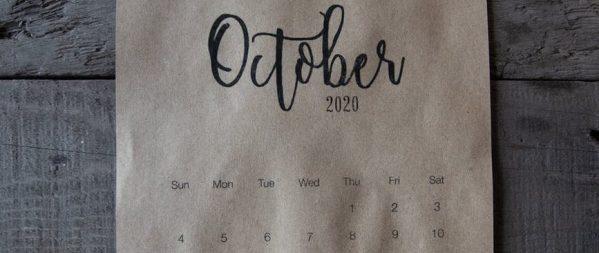 october calendar on wooden surface