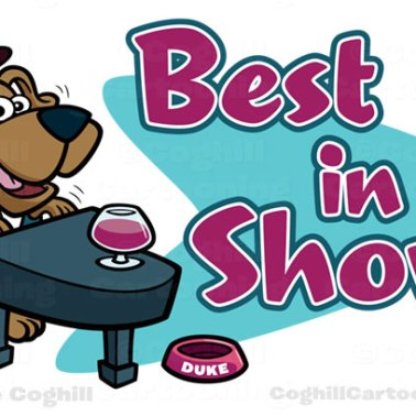 Jazz Piano Dog Cartoon Logo - Best In Show