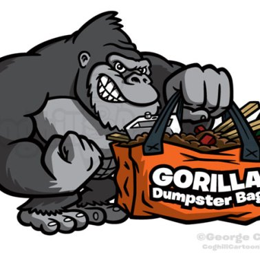 Gorilla Dumpster Bags Cartoon Logo Illustration Coghill