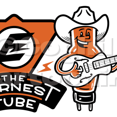 Earnest Tube retro vintage guitar cartoon logo.
