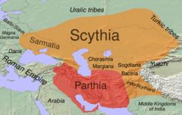 Map of Scythia and Parthia