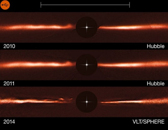 Strange undulations have been observed in a disk of gas and dust around a young star, which does not seem to be related to the formation of new planets.