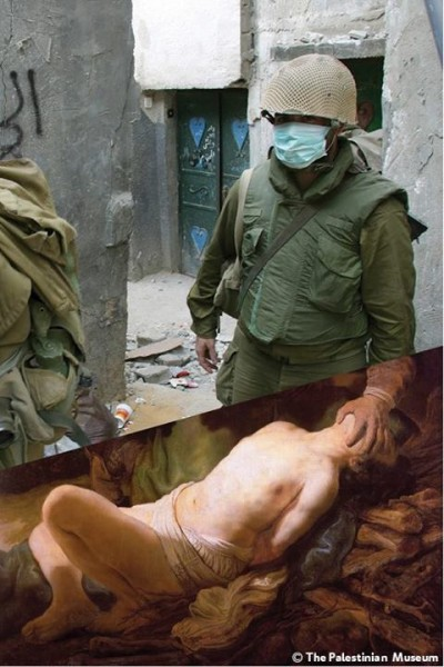 Artwork: Abraham's Sacrifice (c. 1635) by Rembrandt Harmenszoon van Rijn. Photo: Israeli soldiers overwhelmed by the smell of dead bodies at Jenin refugee camp in the West Bank. 16 April, 2002, by Alexandra Boulat.