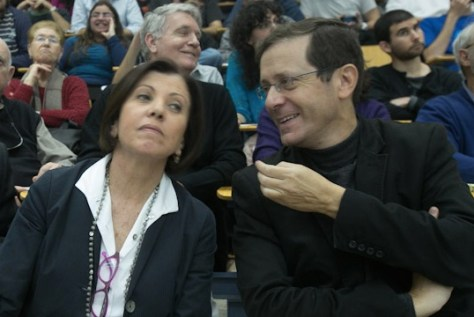 Meretz Chairwoman Zehava Galon and opposition leader Yitzhak Herzog of Labor. Banging one's head on a hopeless peace process Photo by Yotam Ronen/Activestills.org