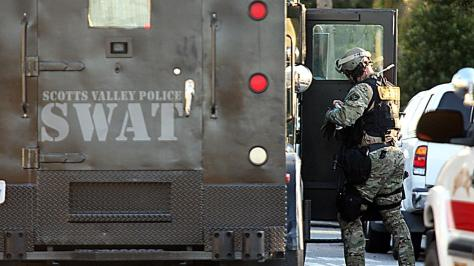 Scotts Valley Police Department armored vehicle responds to the shooting of two Santa Cruz police officers, February 26th, 2013 - photo by Dan Coyro, SC Sentinel