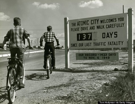 A sign welcoming people to Oak Ridge, Tennessee, otherwise known as the Atomic City, circa 1950. The town was part of 59,000 acres acquired by the US government for the Manhattan Project, which was established to develop nuclear weapons during WWII.